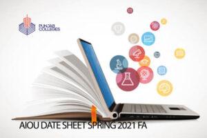 AIOU Date Sheet Spring 2021 FA